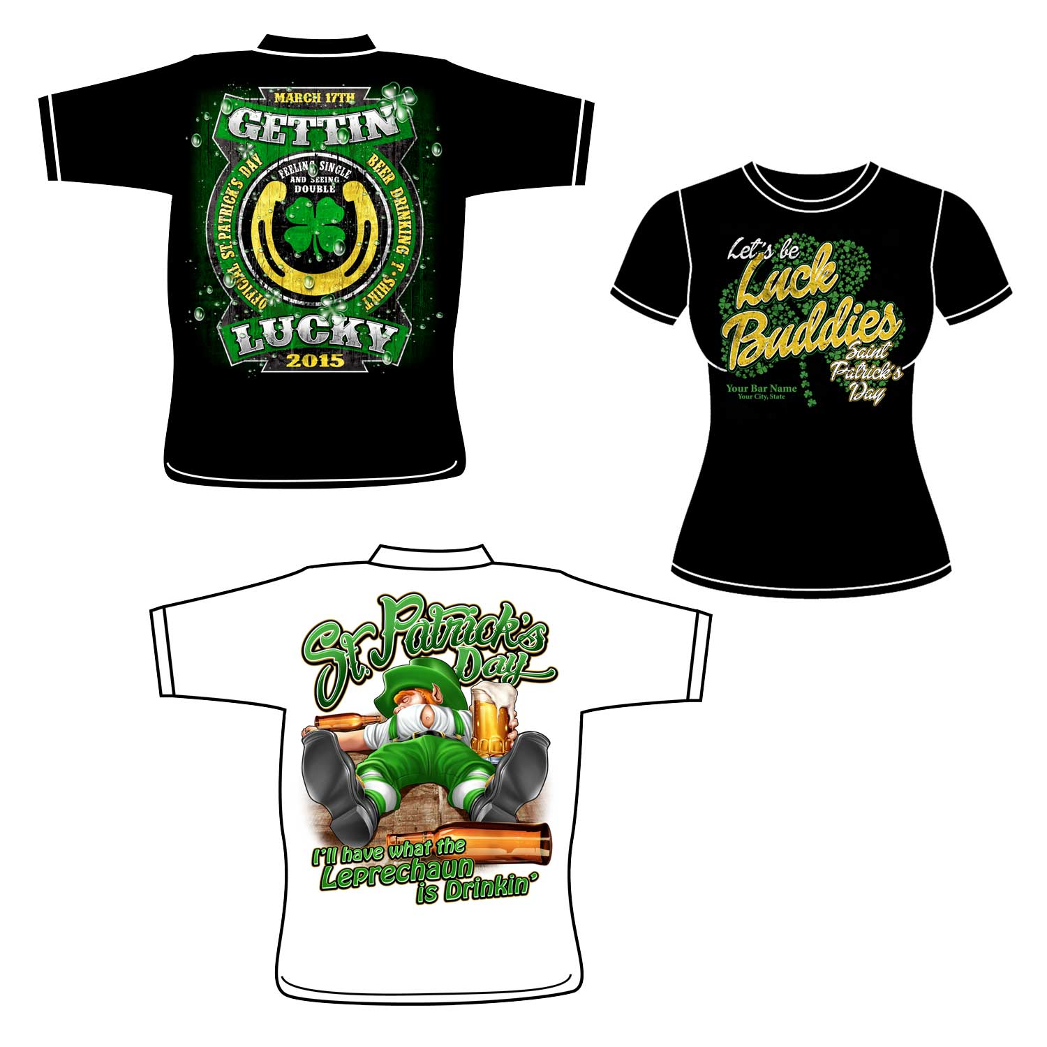 9a6c8a75a262d St. Patrick s Day T-Shirts With Custom Front Logo – Min. 12
